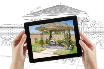 pergolas project by Townsville Carports being built shown in a picture frame